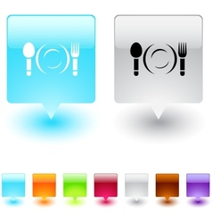 Dinner square button vector