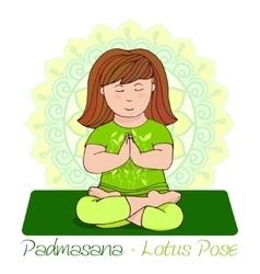 girl in Padmasana with mandala background vector image vector image