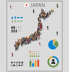 large group of people in form of japan map vector image vector image