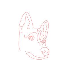 cute husky dog face minimal line-art vector image vector image