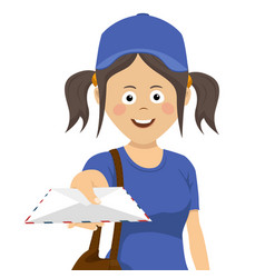 delivery girl with envelope in blue uniform vector image