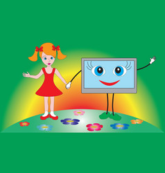 little beautiful girl holding a tv set vector image vector image