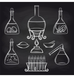 Science lab equipment set on chalkboard vector image