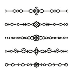 set of divider ornaments ethnic separator style vector image vector image
