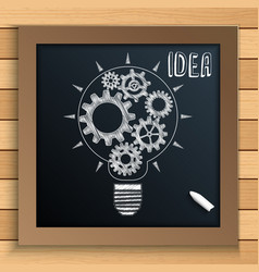 bulb mechanism with cogs and gears written by chal vector image vector image