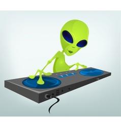 Cartoon alien DJ vector image vector image