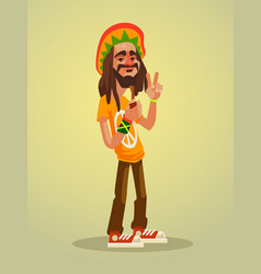 cute happy rastafarian man character vector image
