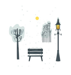 flat streetlight bench tree bush icon vector image