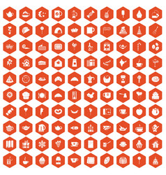 100 tea party icons hexagon orange vector image