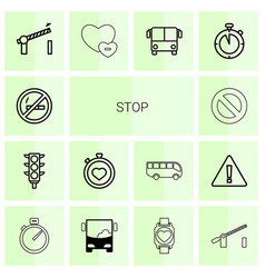 14 stop icons vector