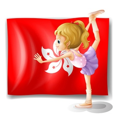 A ballet performer in front of the flag vector