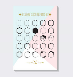 Abstract black hexagon emblems icons set poster vector