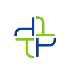 abstract cross medic hospital logo vector image