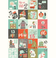 Advent calendar with christmas decoration vector