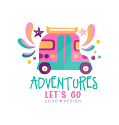 adventures lets go logo design summer vacation vector image