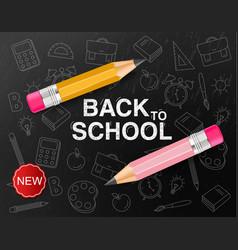 Back to school creative realistic crayon vector