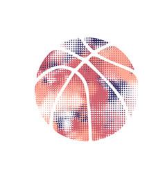 basketball violet halftone vector image