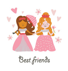 beautiful princesses best friends vector image