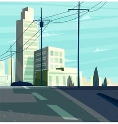 Beautiful sunrise over cartoon city vector