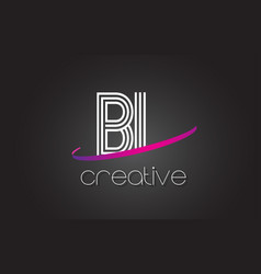 Bl b l letter logo with lines design and purple vector