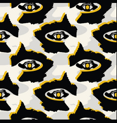black and yellow graphic abstract dark eyes shapes vector image