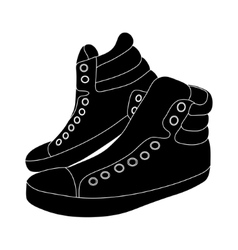 Black sneakers on white background vector
