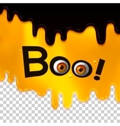 Boo text with monster eyes on liquid art vector