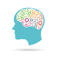 Brain with gears working inside logo vector