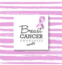 Breast cancer design with typography and ribbon vector image