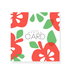 bright fruit card with red apples and green leaves vector image