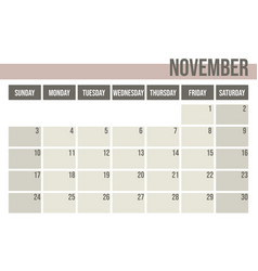 calendar planner 2019 monthly planner november vector image