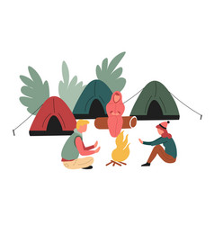 camping or hiking family around campfire tents vector image