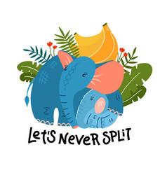 Cartoon funny mom elephant with baby and banana vector