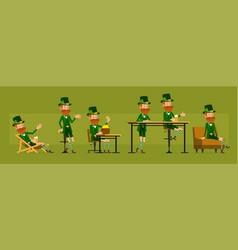 cartoon irish leprechaun character big set vector image