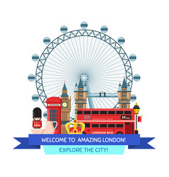 Cartoon london sights and objects vector