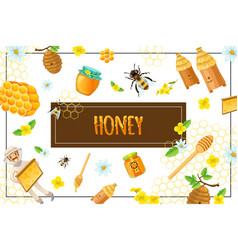 cartoon organic honey concept vector image