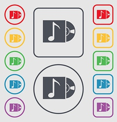 Cd player icon sign symbol on the Round and square vector