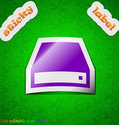 CD-ROM icon sign Symbol chic colored sticky label vector image