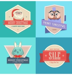 Christmas hipster animals Sale card vector