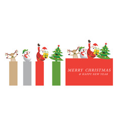 christmas santa claus and friends banner vector image