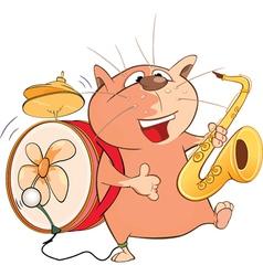 Cute Cat One-Man Band Cartoon vector
