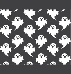 cute halloween pattern white ghost vector image