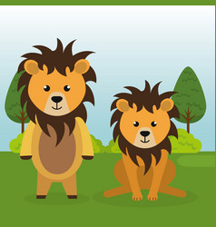 Cute lions couple in the field landscape vector