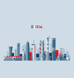 Doha skyline qatar flat design vector