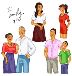 Family members isolated set 3 vector