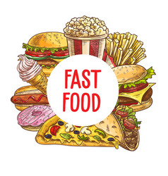 fast food pizza burgers desserts sketch vector image