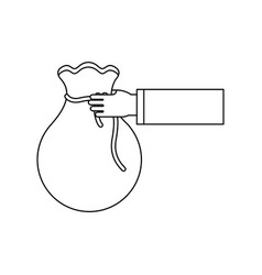 Figure bag money in the hand person vector