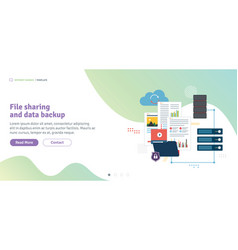 file sharing and data backup vector image