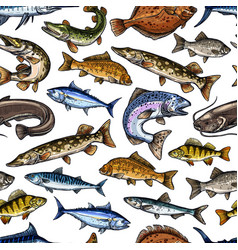 Fish sketch seamless pattern vector