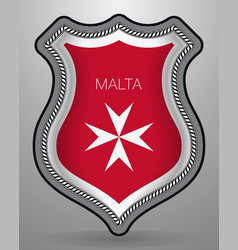 Flag of malta version with maltese cross badge vector